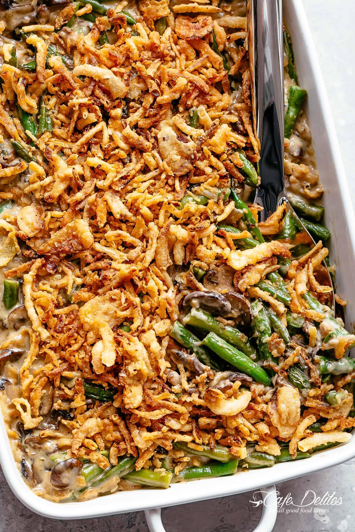 Green Bean Casserole in a baking dish #cafedelites #greenbeancasserole #thanksgiving #greens #sides #sidedish #casserole