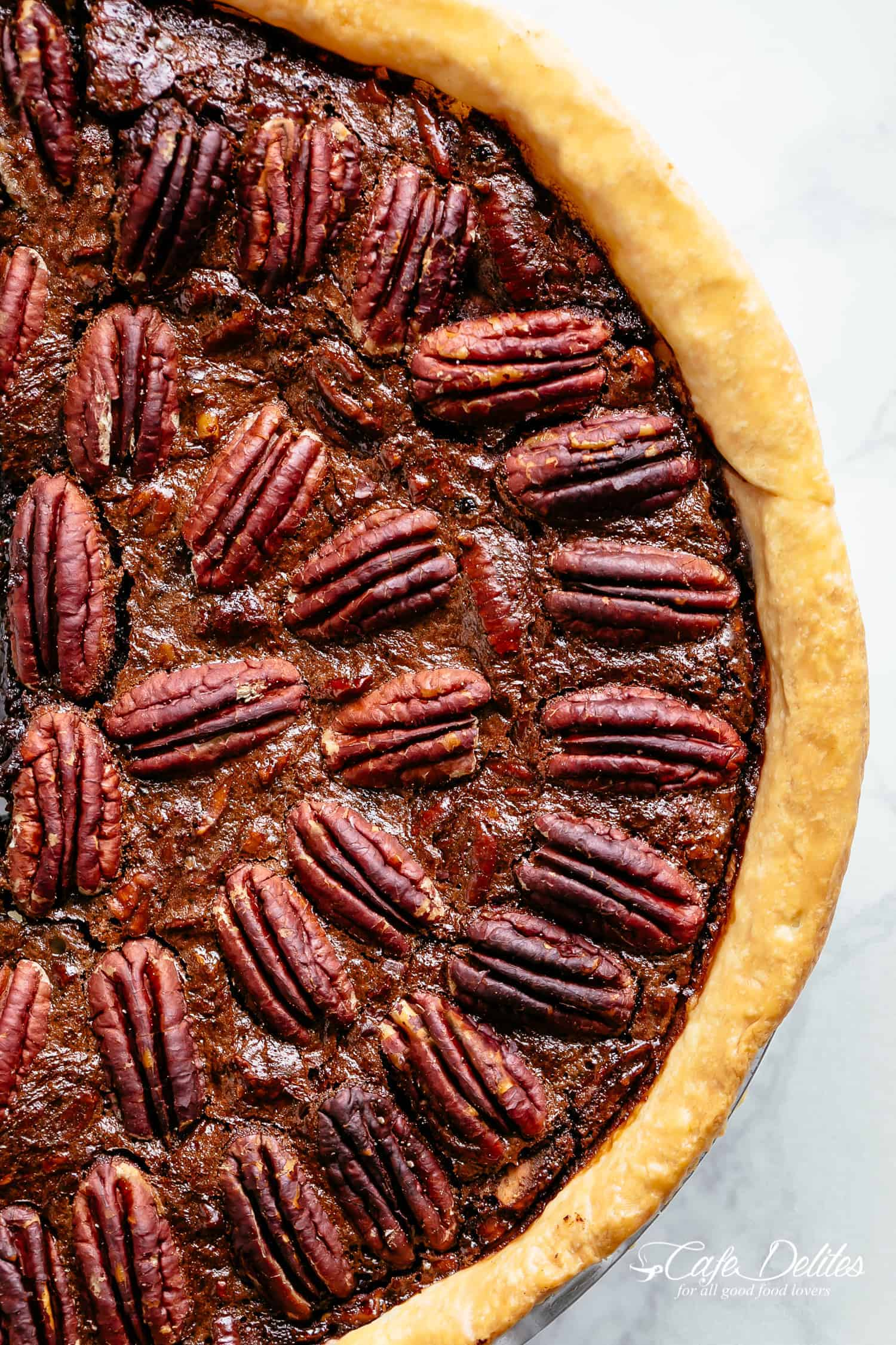 Fudge Chocolate Pecan Pie is the best, decadent dessert to hit your holiday table! | cafedelites.com