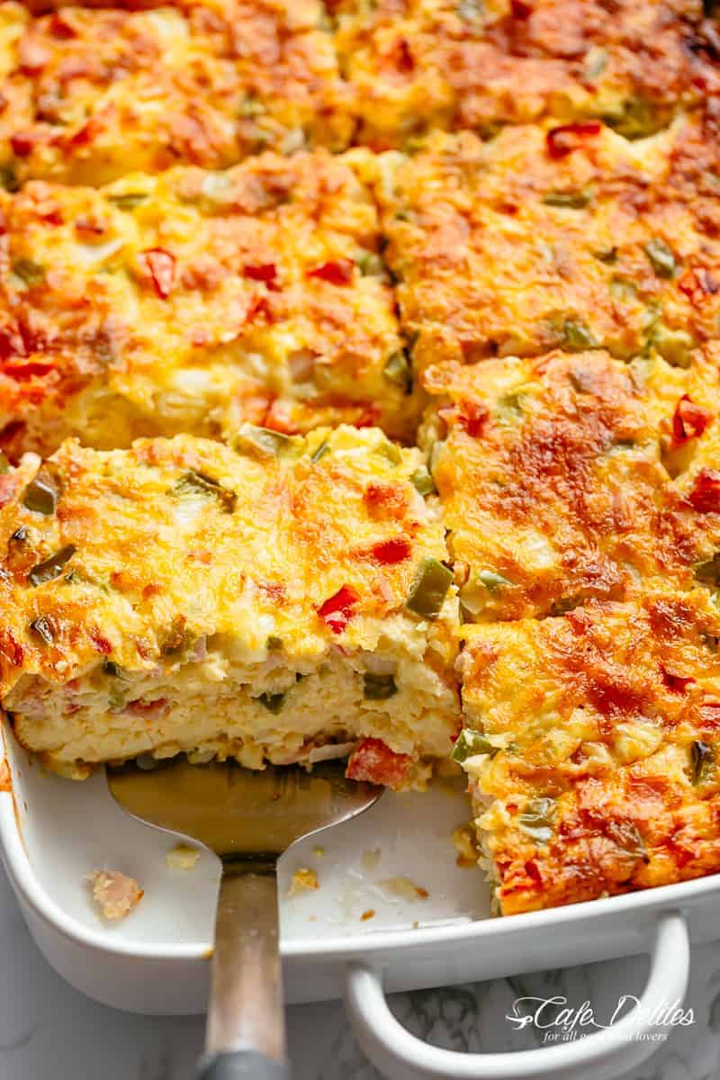 Breakfast Casserole with shredded potato hash browns, sausage, bacon and mozzarella cheese! | cafedelites.com