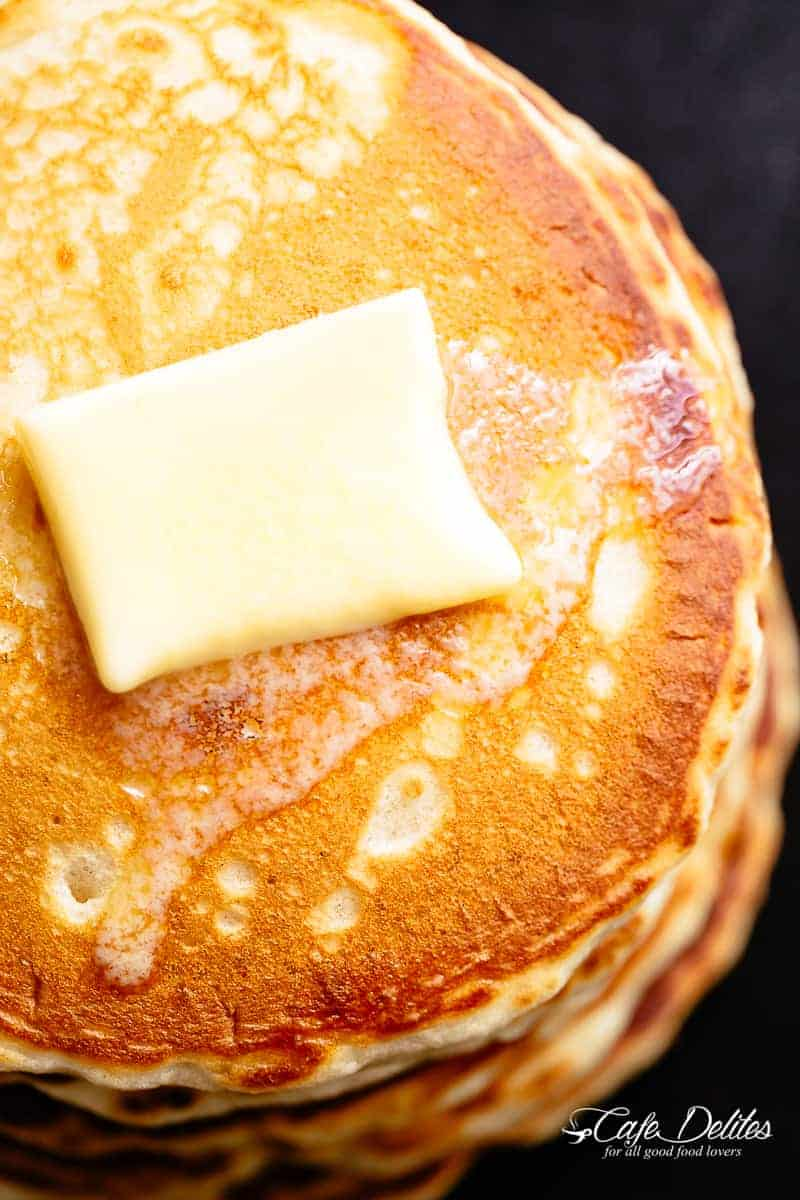 Buttermilk Pancakes recipe with melted butter | cafedelites.com