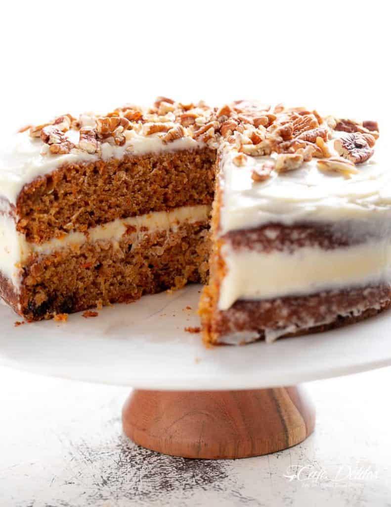 Carrot Cake RECIPE   cafedelites.com