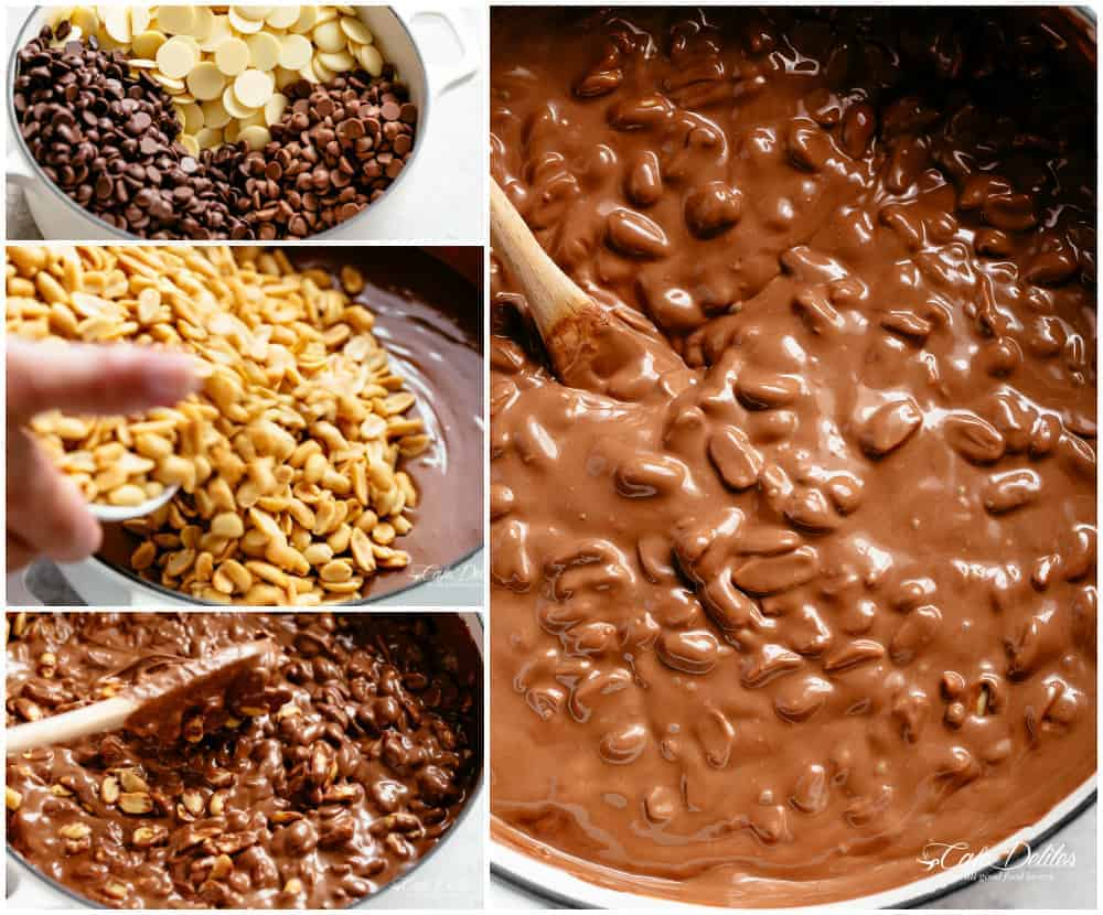 Stove Top Chocolate Peanut Clusters with a handful of ingredients! | cafedelites.com