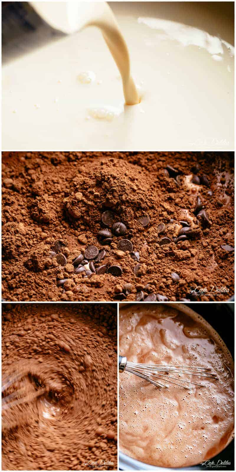 How to make hot chocolate in a slow cooker or crock pot   cafedelites.com
