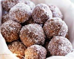 Easy Chocolate Coconut Rum Balls | cafedelites.com