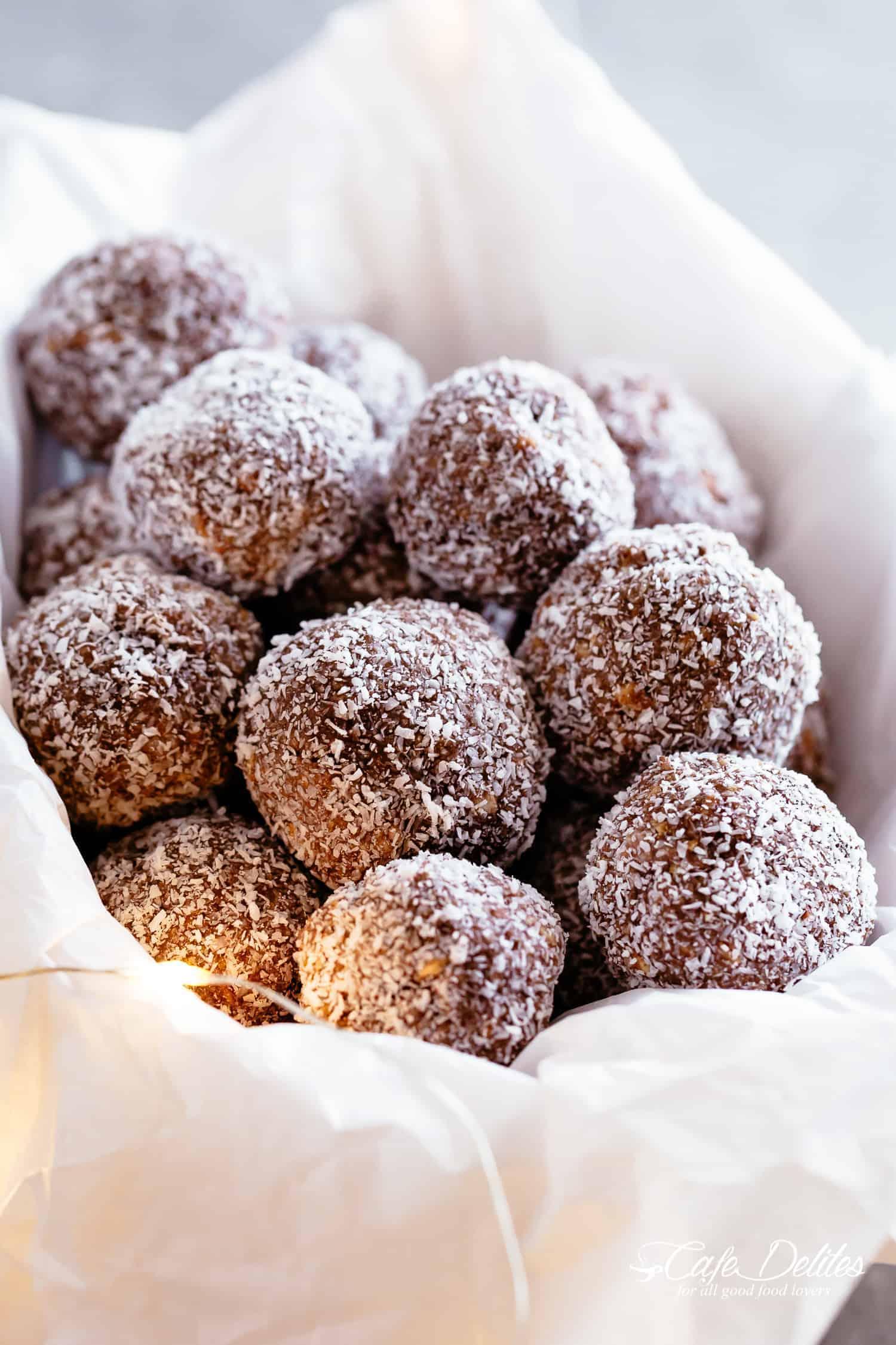 Easy Chocolate Coconut Rum Balls   cafedelites.com