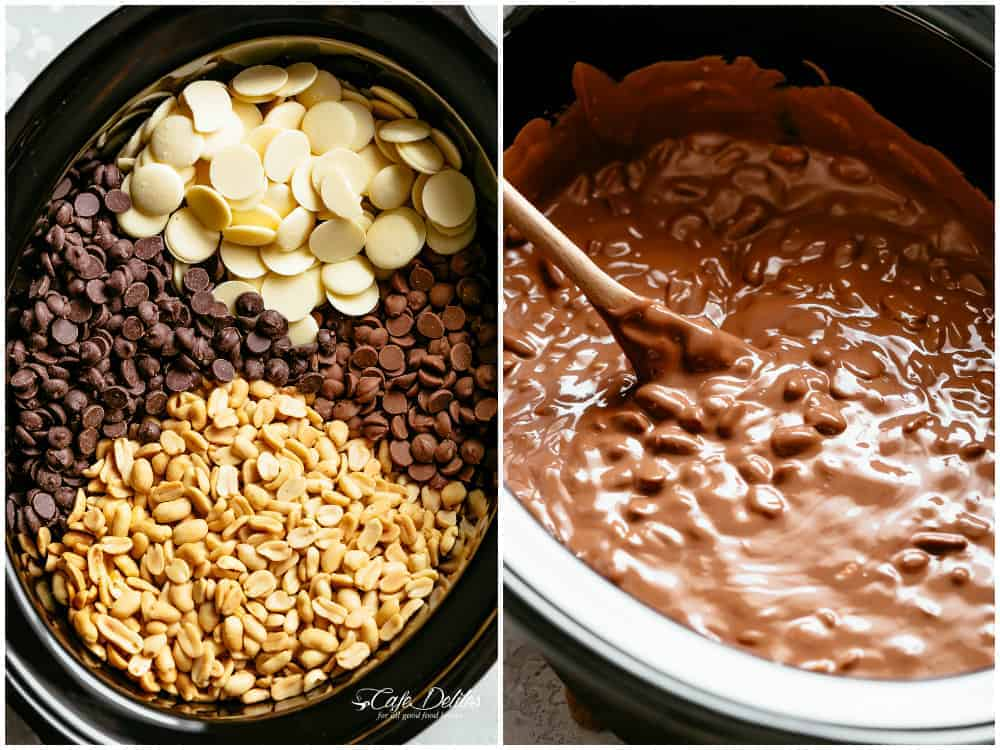Slow Cooker Chocolate Peanut Clusters | cafedelites.com