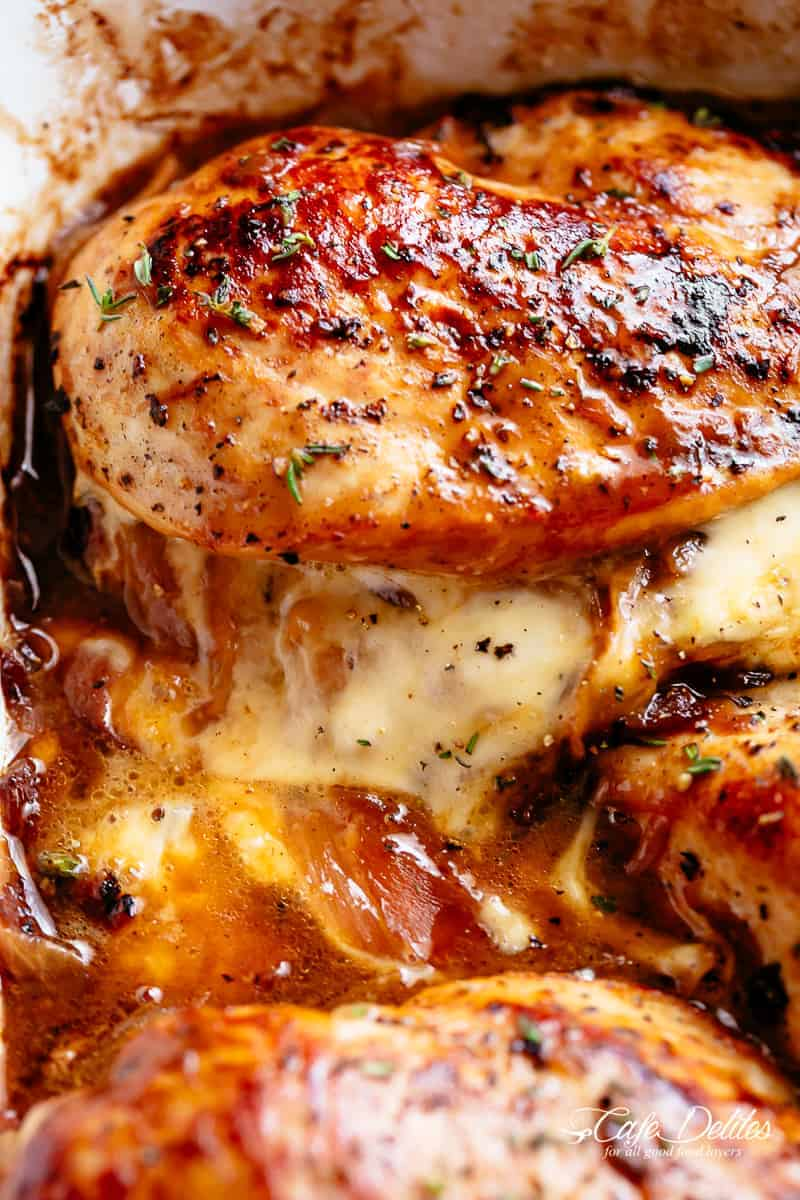 French Onion Stuffed Chicken with caramelized onions and melted cheese. | cafedelites.com