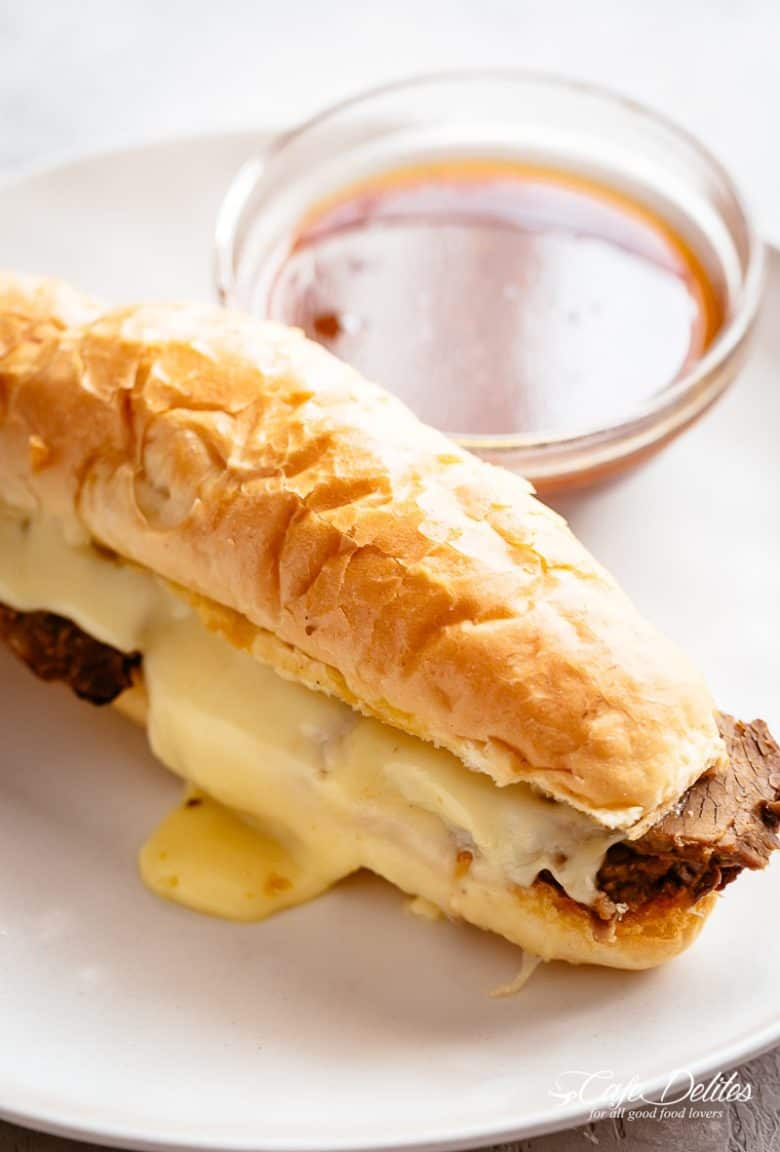 A classic French Dip Sandwich with a delicious jus! SLOW COOKER OR INSTANT POT | cafedelites.com