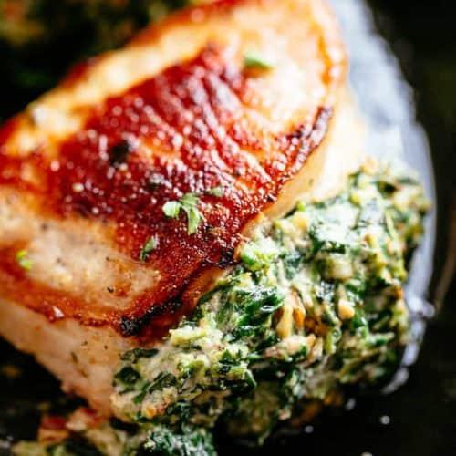 Spinach Stuffed Pork Chops