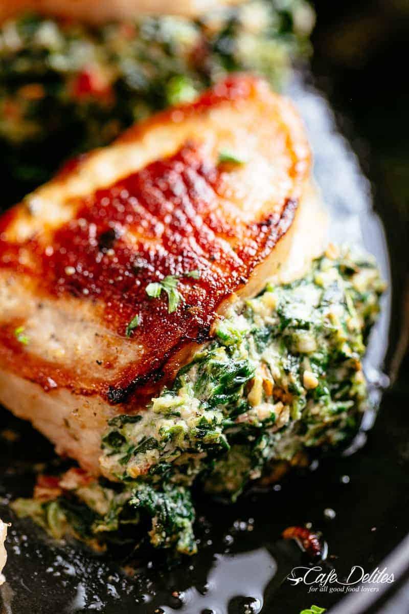 Creamed Spinach Stuffed Pork Chops Cafe Delites