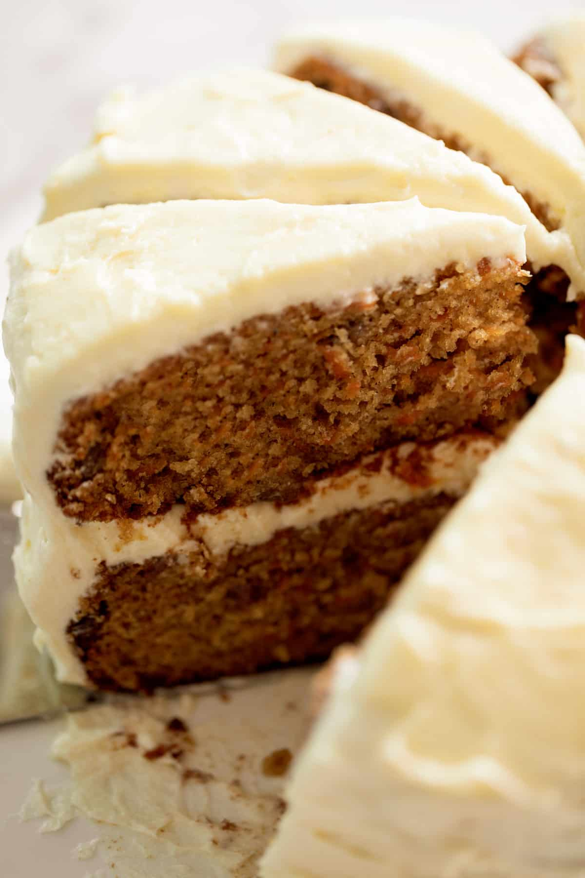 Carrot cake cut into slices | cafedelites.com