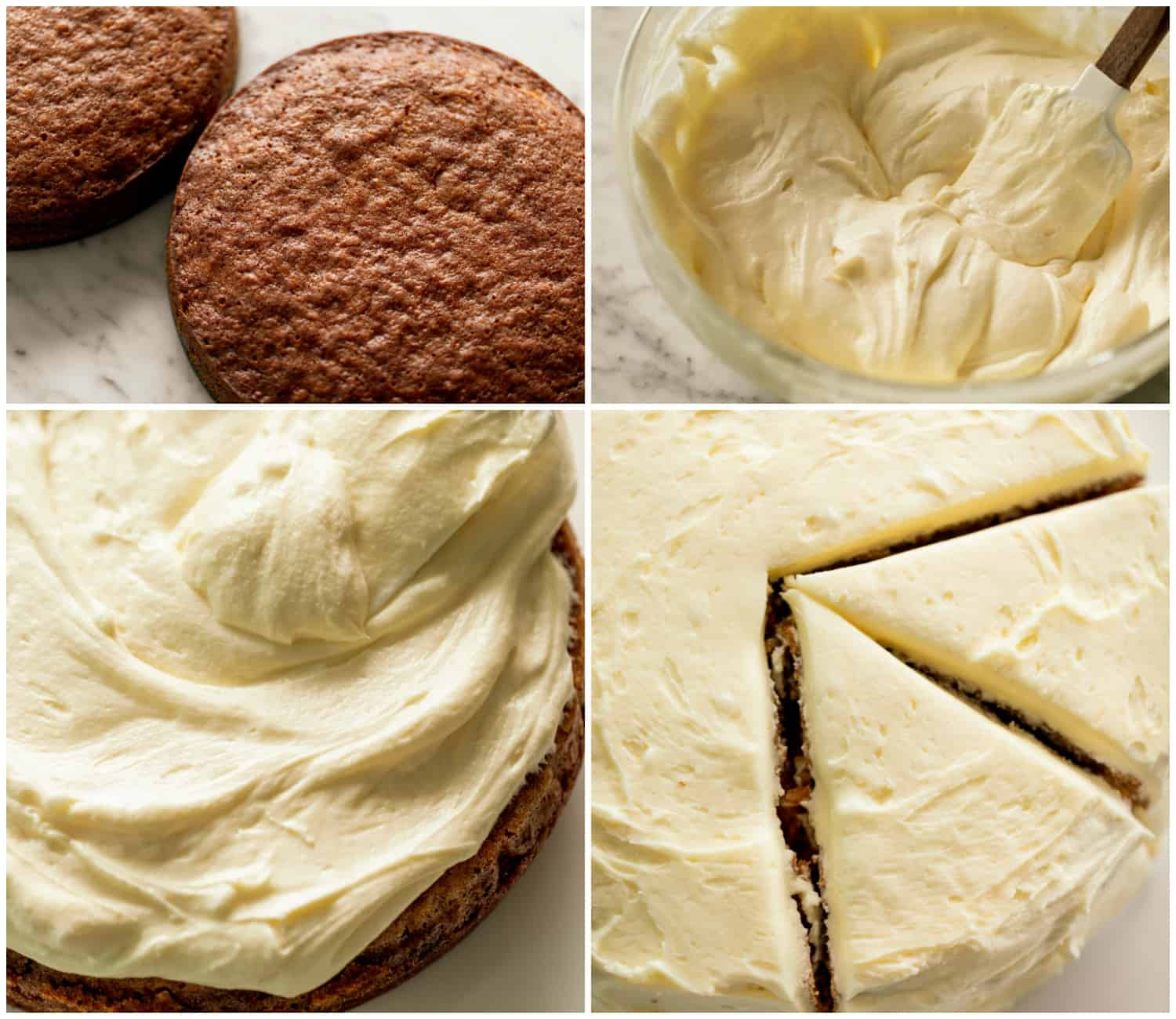 Collage step-by-step photos how to make carrot cake with frosting