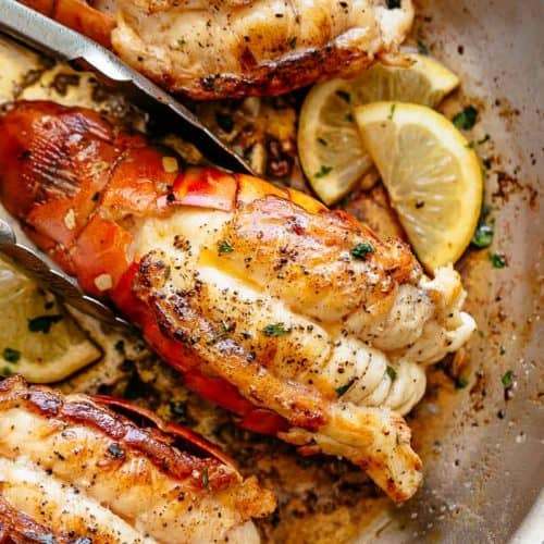 Stove Top Garlic Butter Seared Lobster Tails | cafedelites.com