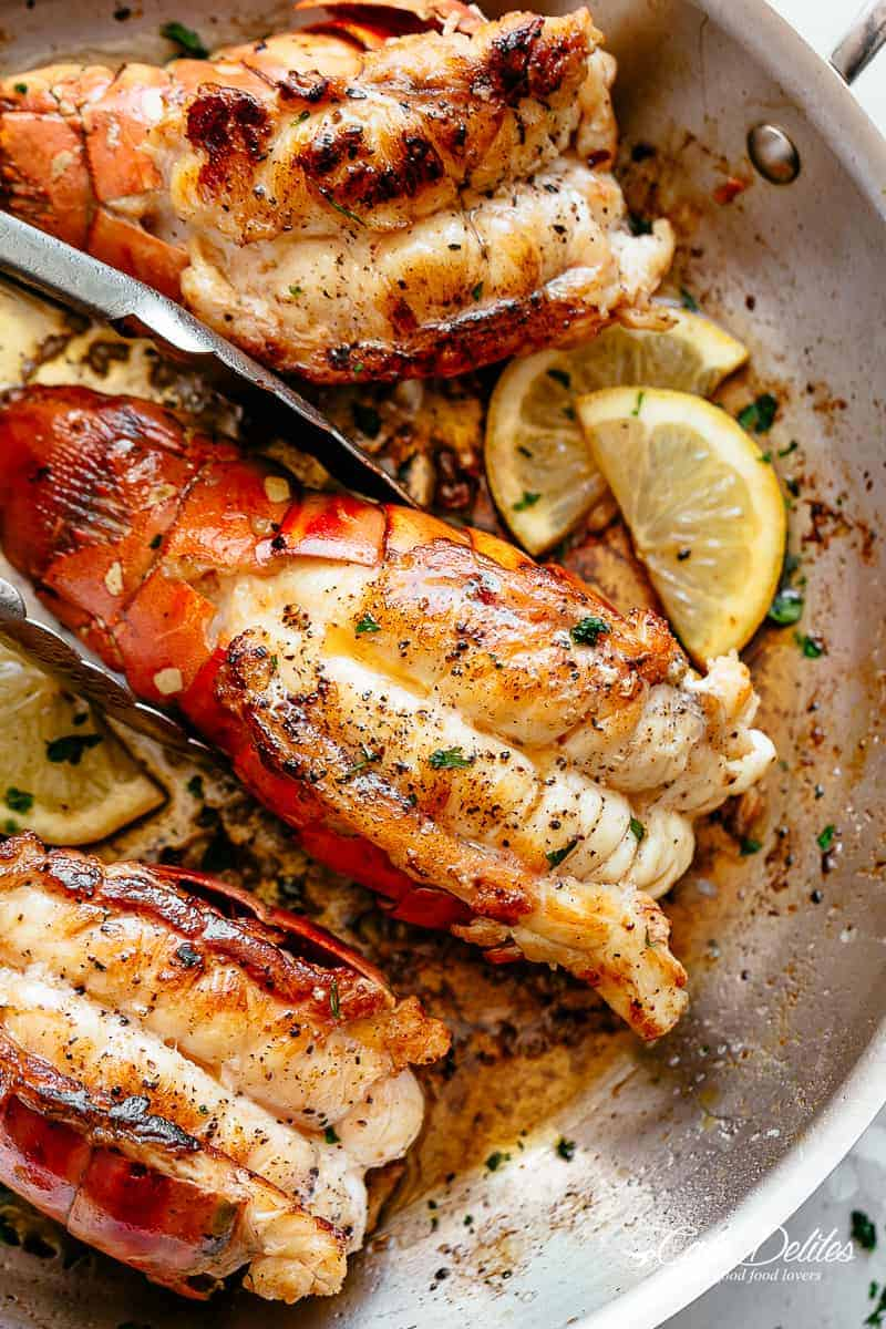 Seared Lobster Tails | cafedelites.com