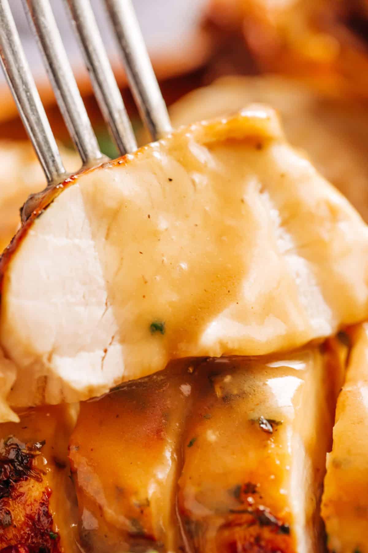 A slice of Turkey with homemade gravy