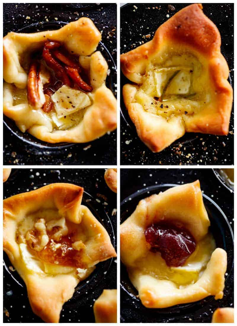 Four baked brie flavours bite-sized appetizers | cafedelites.com