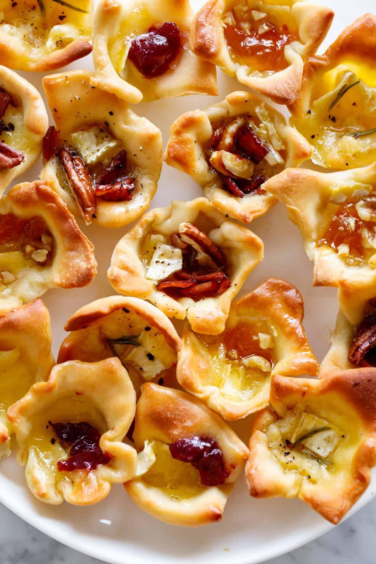 Baked Brie Bites on a platter appetizers | cafedelites.com