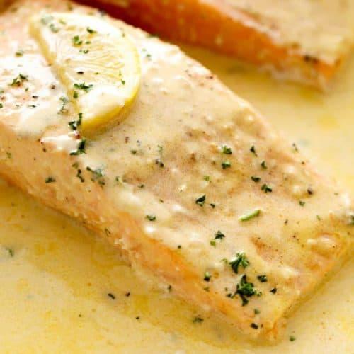 Baked Salmon Lemon Butter Cream Sauce | cafedelites.com