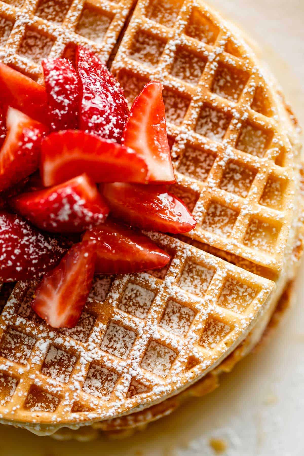 Best Belgian Waffles Recipe with powdered sugar | #belgiumwaffles #recipe #breakfast