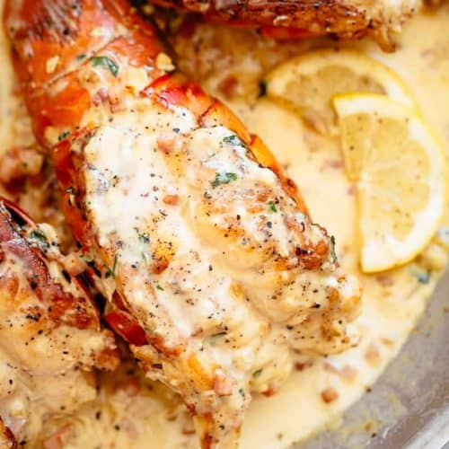 Lobster Tails with Bacon Cream Sauce | cafedelites.com
