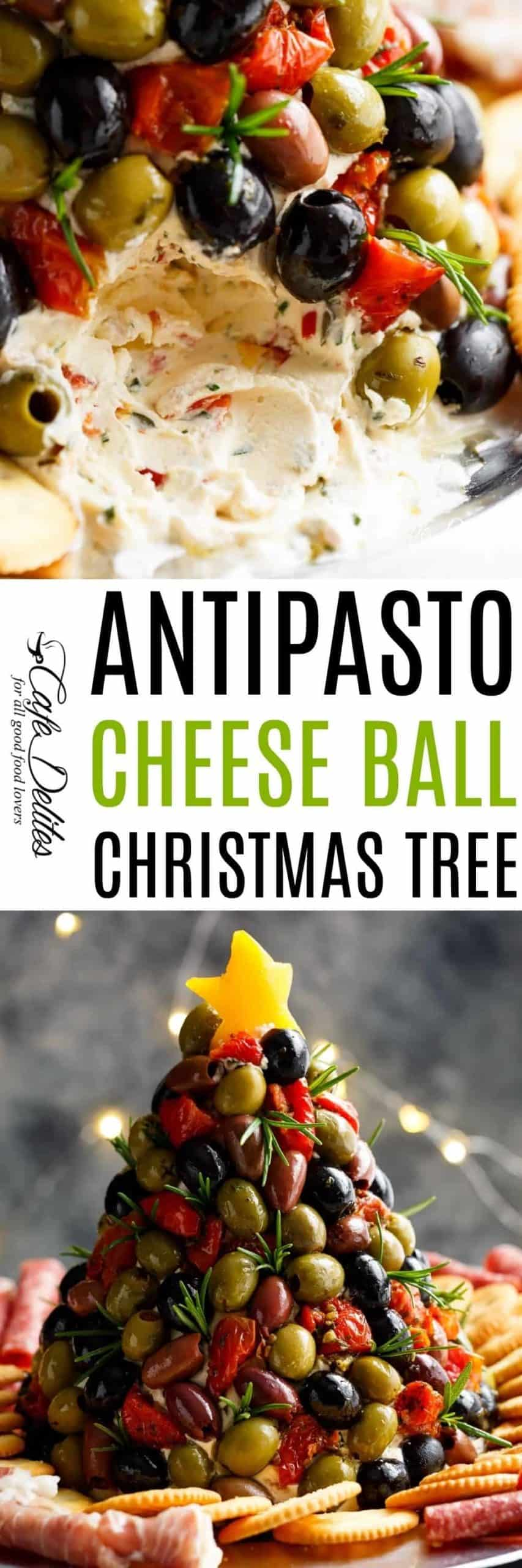 Antipasto Cheese Ball Christmas Tree | cafedelites.com