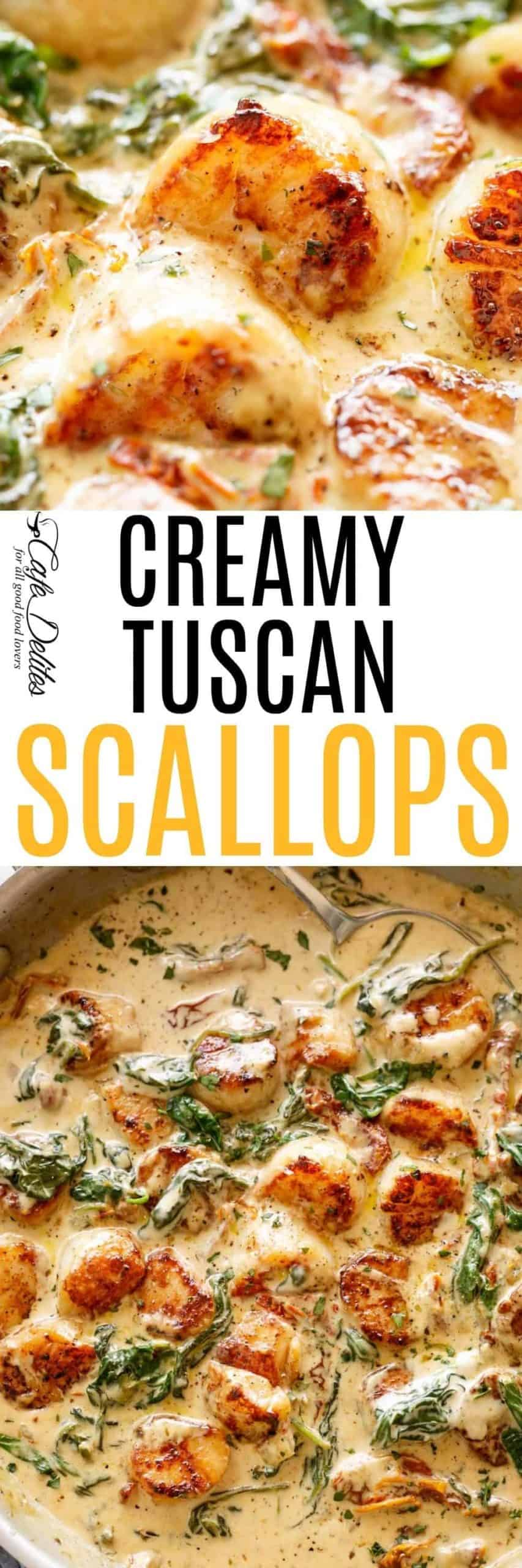 Creamy Tuscan Scallops | cafedelites.com