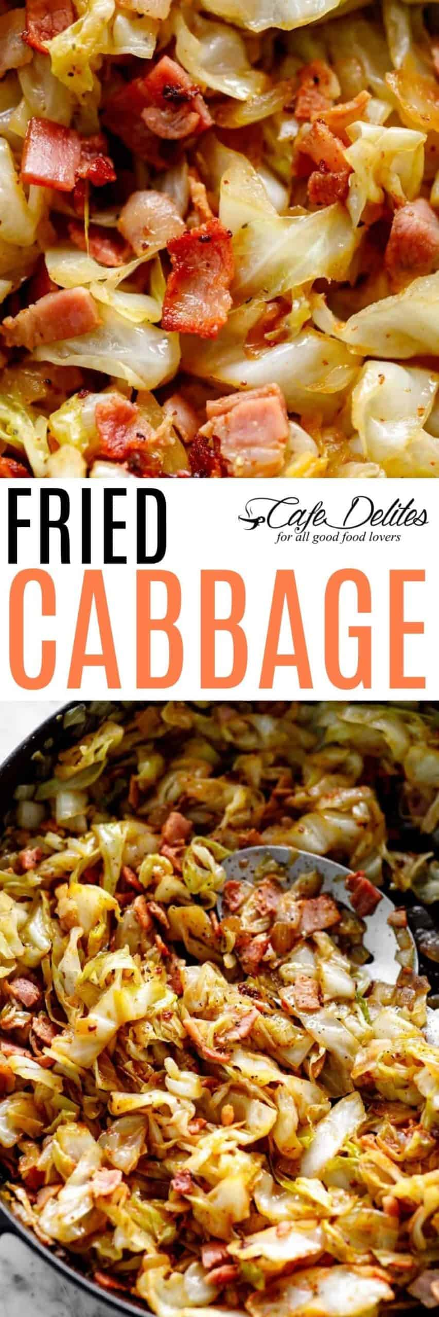 Bacon Fried Cabbage | cafedelites.com