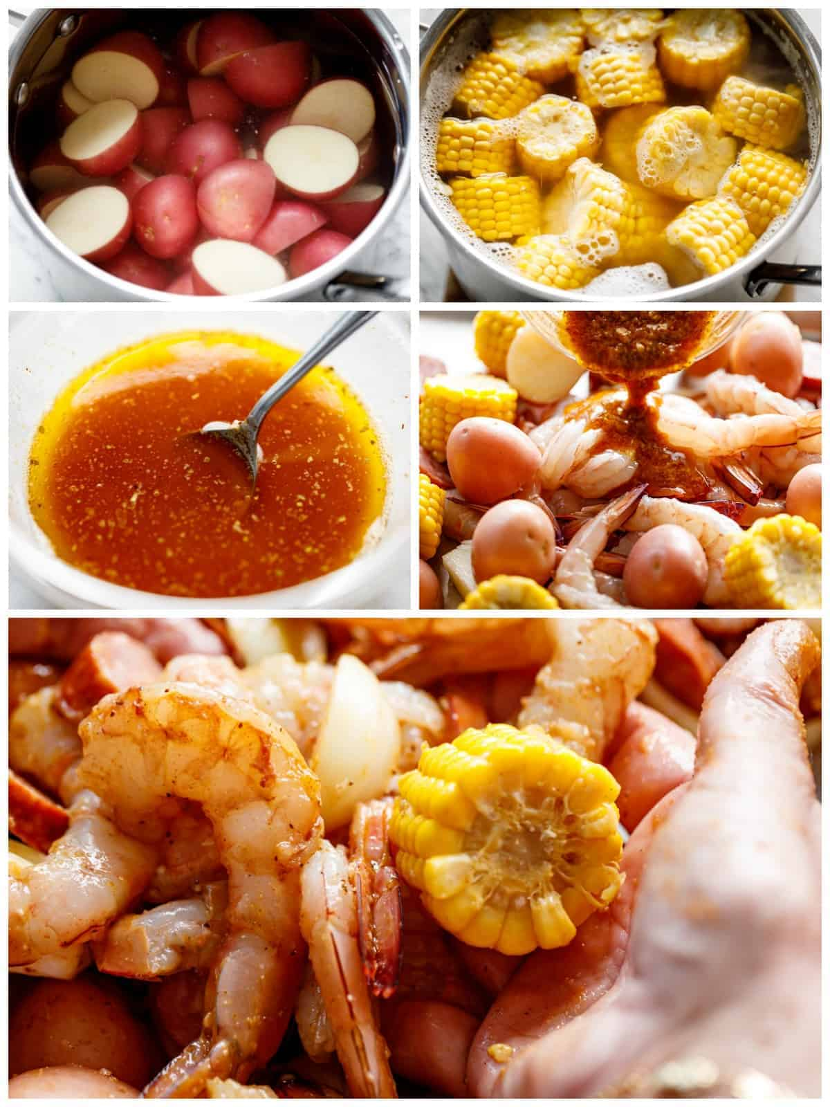 How to make Shrimp Boil smothered in garlic butter and Old Bay seasoning in the oven. | cafedelites.com