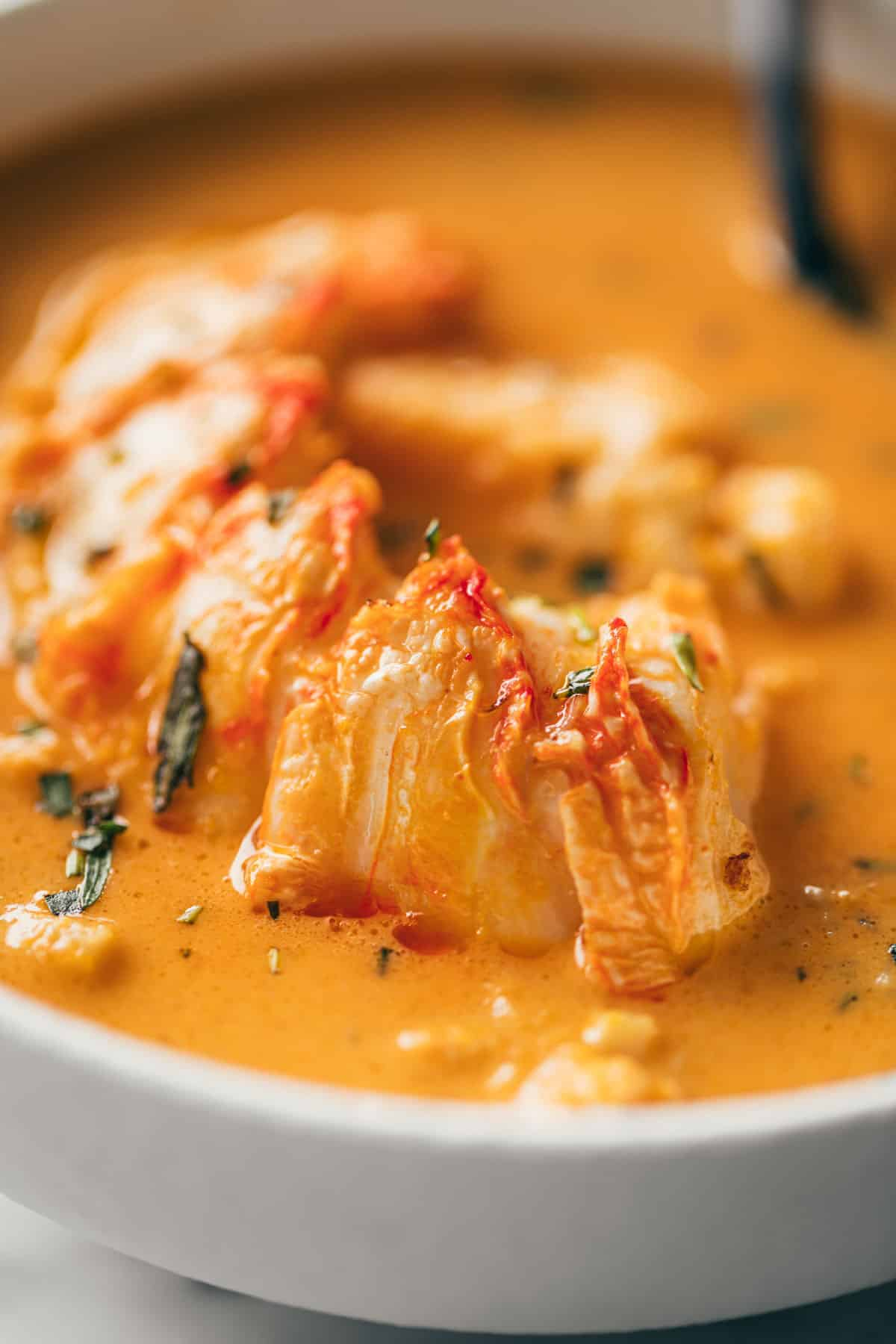 Lobster bisque with lobster tail meat #lobstertails #lobsterbisque