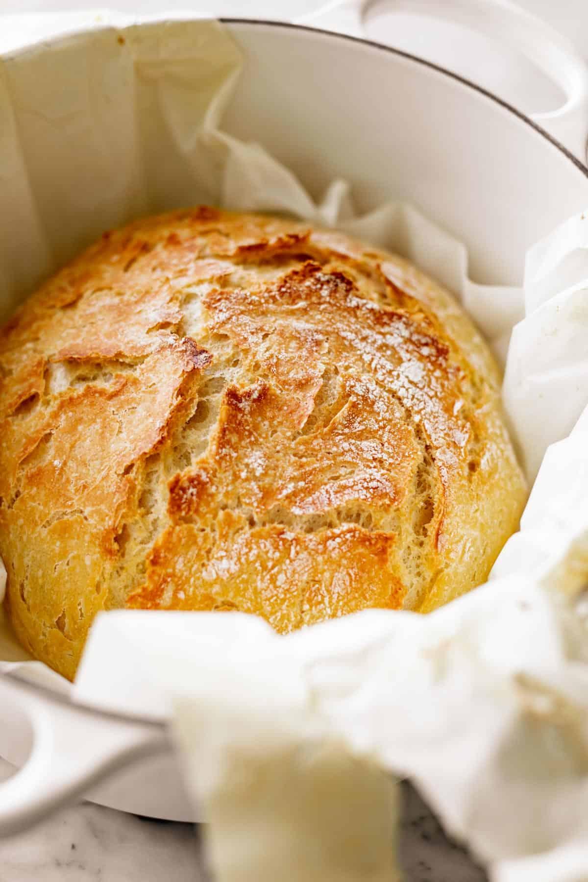 Artisan Bread in a dutch oven pot | cafedelites.com