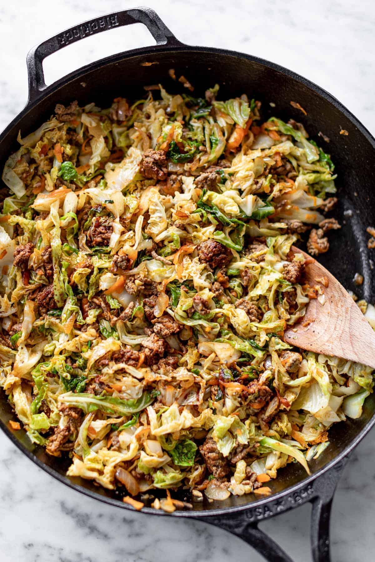 Ground Beef Stir Fry in a skillet | cafedelites.com