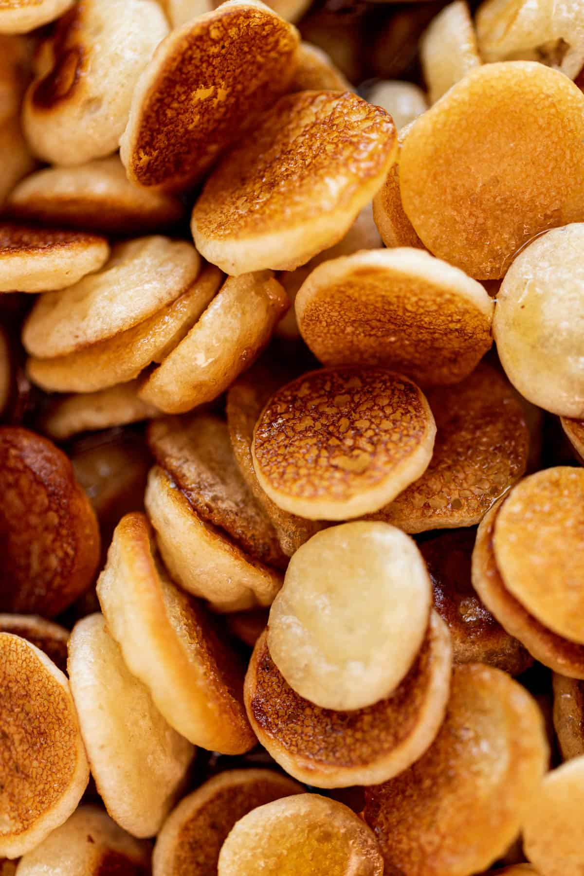 A close up image of mini pancakes