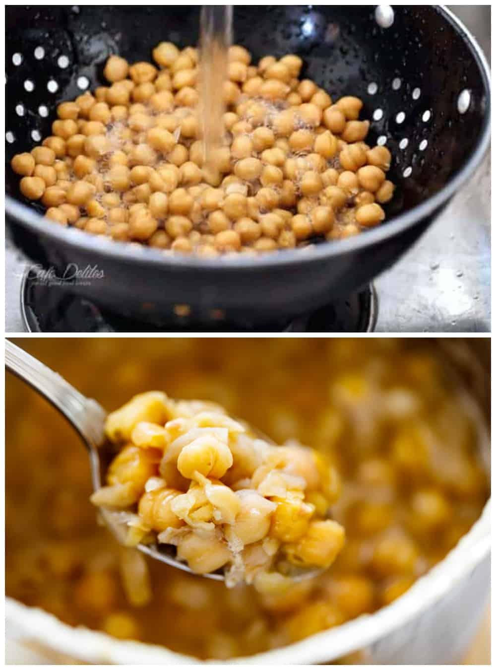How to make hummus in a collage. Top image: washing chickpeas in a black strainer under cold running water. Bottom image: A spoon holding boiled chickpeas softened, just above a blurred pot full of boiled chickpeas.