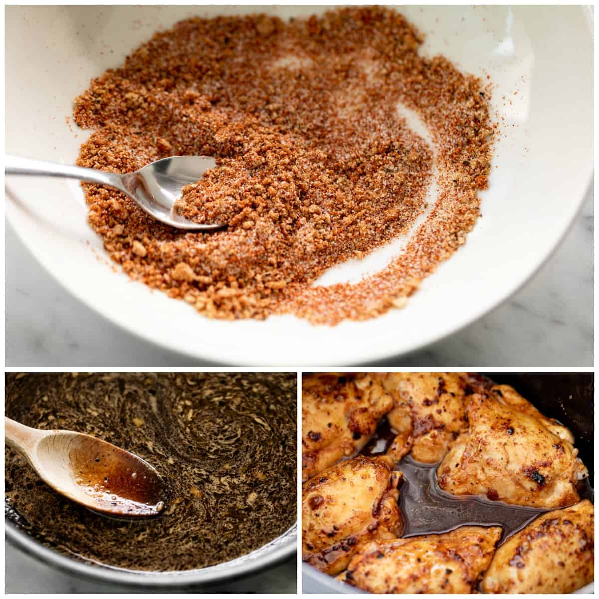Seasoning and sauce collage for a Slow Cooker Honey Garlic Chicken recipe