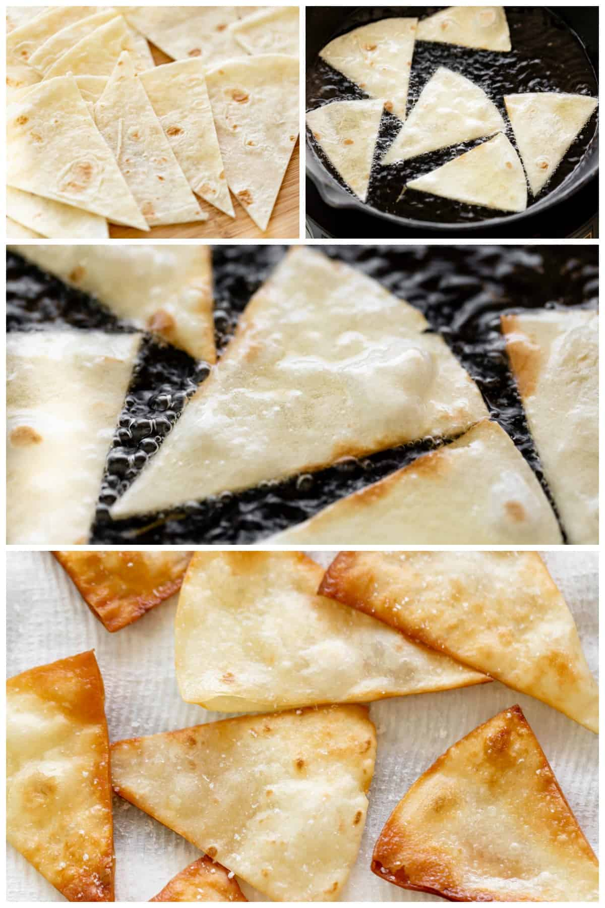 how to make fried Tortilla Chips Collage