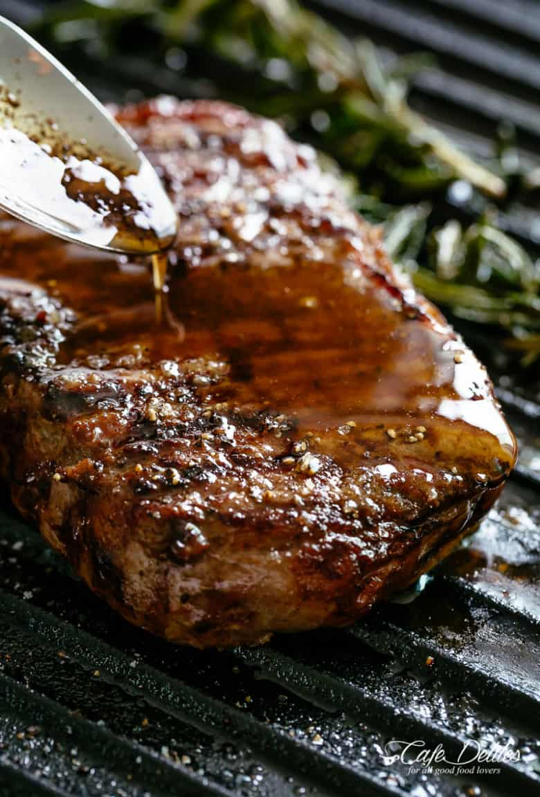 Grilled Steak drizzled with garlic and pepper Browned Butter | cafedelites.com