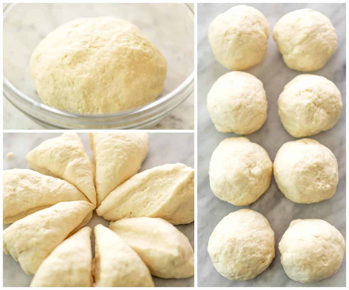 How To Make Garlic Naan Bread with steps in a collage | cafedelites.com